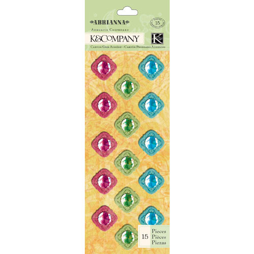 K and Company - Abrianna Collection - Adhesive Chipboard with Foil and Gem Accents