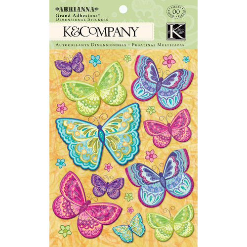 K and Company - Abrianna Collection - Grand Adhesions with Glitter Accents - Butterfly