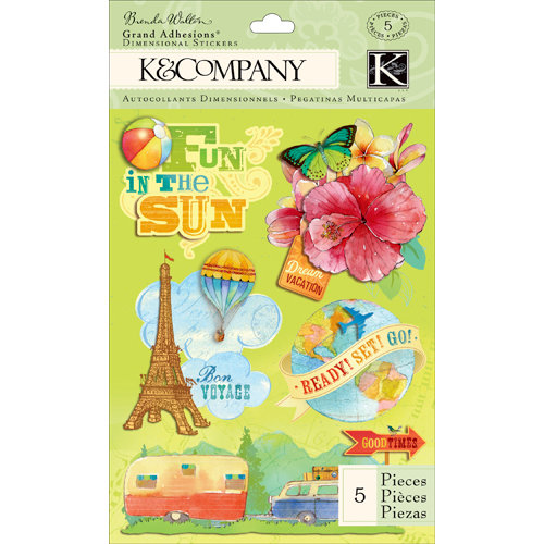 K and Company - Around the World Collection - Grand Adhesions with Glitter Accents - Pop-up