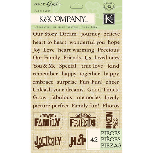 K and Company - Engraved Garden Collection - Fabric Art - Word and Tag