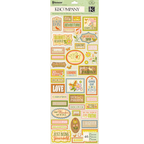 K and Company - Edamame Collection - Embossed Stickers - Word