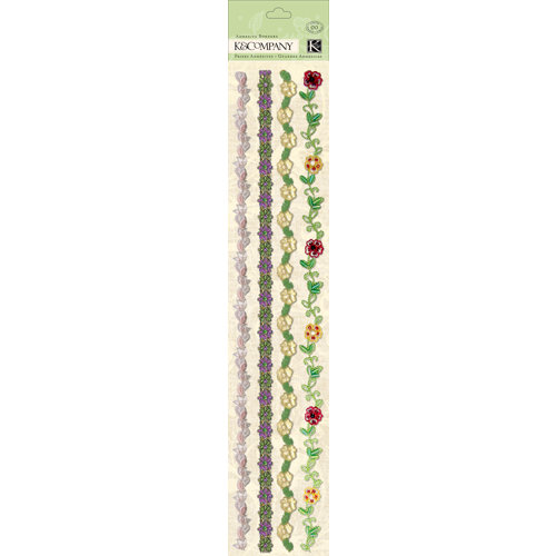 K and Company - Watercolor Bouquet Collection - Adhesive Borders - Specialty