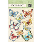 K and Company - Watercolor Bouquet Collection - Grand Adhesions with Glitter Accents - Butterfly