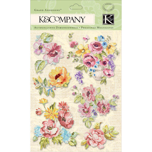 K and Company - Watercolor Bouquet Collection - Grand Adhesions with Glitter Accents - Flower