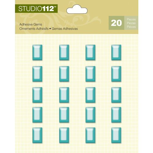 K and Company - Studio 112 Collection - Adhesive Gems - Blue Rectangle