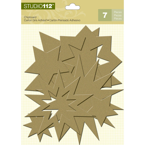 K and Company - Studio 112 Collection - Glitter Chipboard Pieces - Gold Stars