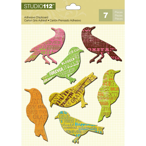 K and Company - Studio 112 Collection - Adhesive Chipboard with Glitter Accents - Bird