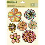 K and Company - Studio 112 Collection - Adhesive Chipboard with Glitter Accents - Flower