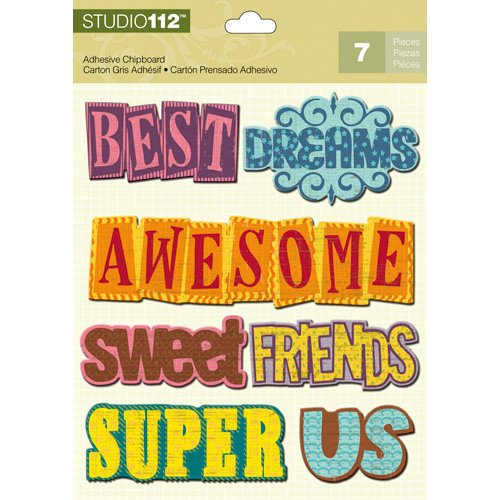 K and Company - Studio 112 Collection - Adhesive Chipboard with Glitter Accents - Word