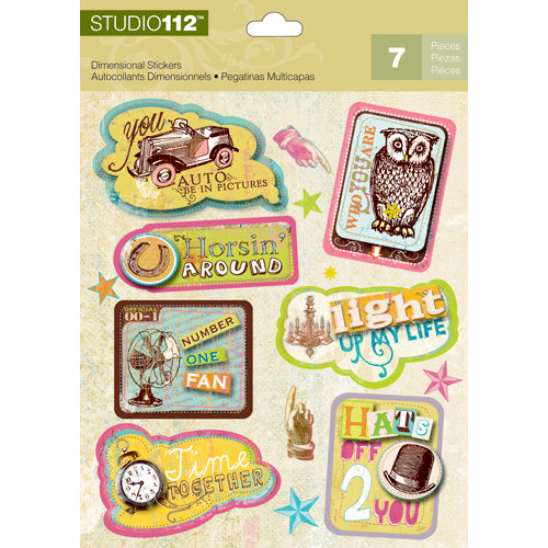 K and Company - Studio 112 Collection - 3 Dimensional Stickers - Sayings