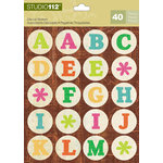 K and Company - Studio 112 Collection - Die Cut Stickers with Foil Accents - Alphabet - Bright Circle