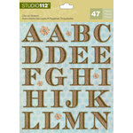 K and Company - Studio 112 Collection - Die Cut Stickers with Foil Accents - Alphabet - Brown Textured