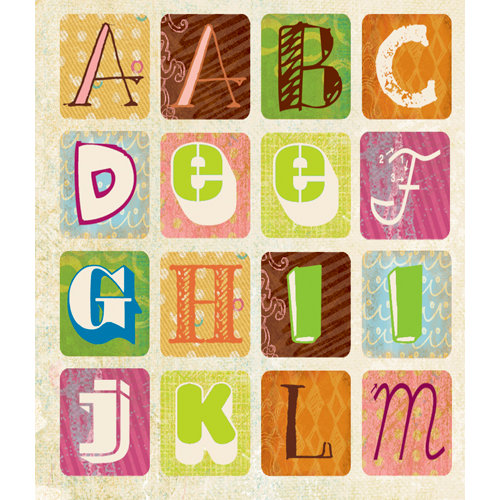 K and Company - Studio 112 Collection - Die Cut Stickers with Glitter Accents - Alphabet - Bright Graphic