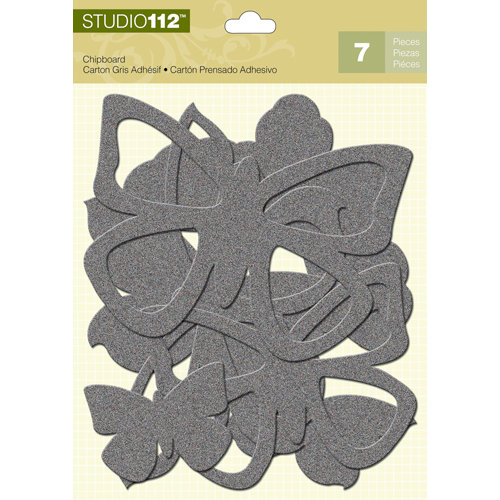 K and Company - Studio 112 Collection - Glitter Chipboard Pieces - Silver Butterflies