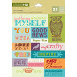 K and Company - Studio 112 Collection - Die Cut Stickers with Foil Accents - Word
