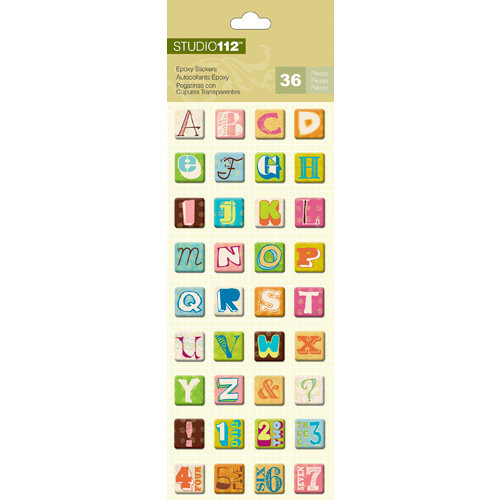 K and Company - Studio 112 Collection - Epoxy Stickers - Alphabet