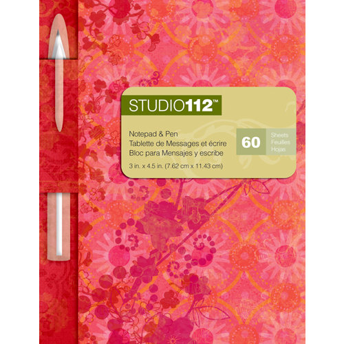 K and Company - Studio 112 Collection - Notepad with Pen - Red Ornamental