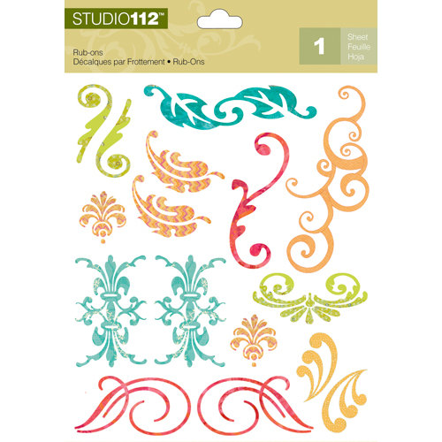 K and Company - Studio 112 Collection - Rub Ons - Swirl
