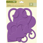 K and Company - Studio 112 Collection - Glitter Chipboard Pieces - Purple Hearts
