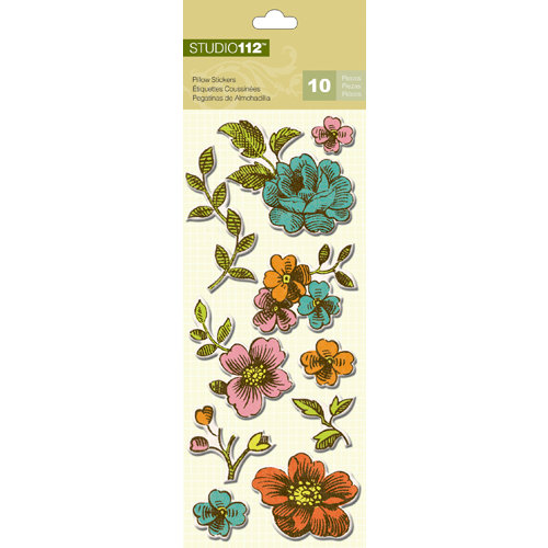 K and Company - Studio 112 Collection - Pillow Stickers - Textured Flower