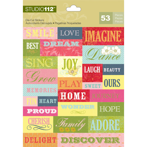 K and Company - Studio 112 Collection - Die Cut Stickers with Foil Accents - Pattern Words