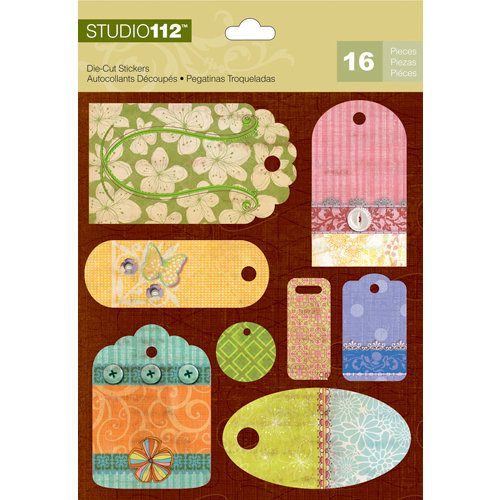 K and Company - Studio 112 Collection - Die Cut Stickers with Foil Accents - Bright Tag