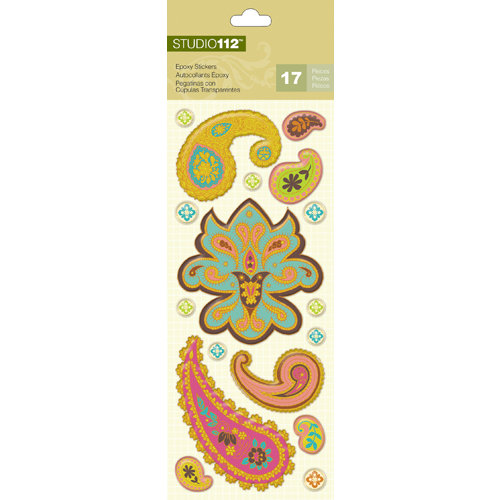 K and Company - Studio 112 Collection - Epoxy Stickers - Paisley