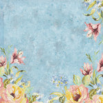 K and Company - Watercolor Bouquet Collection - 12 x 12 Paper with Foil Accents - Blue Flower Garden