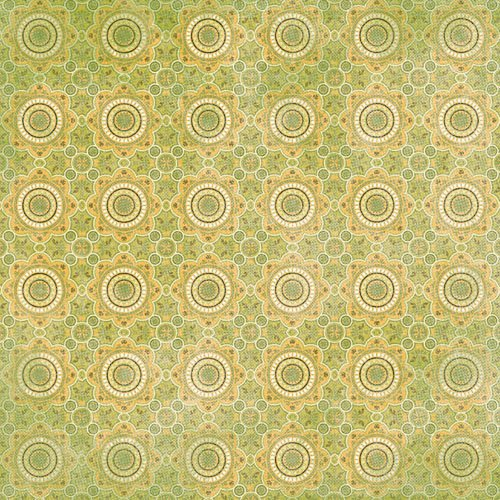 K and Company - Abrianna Collection - 12 x 12 Paper - Green Geo Flower