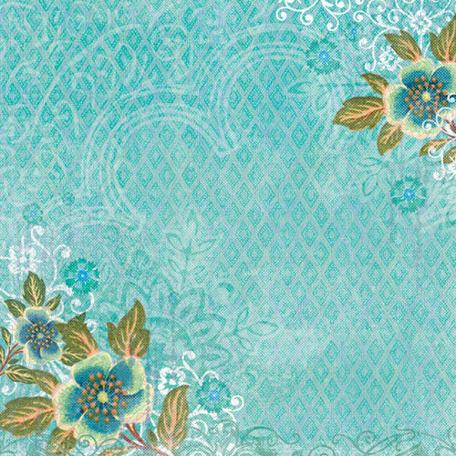 K and Company - Abrianna Collection - 12 x 12 Paper - Teal Flowers