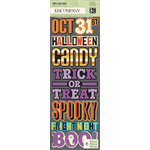 K and Company - Ghostly Greetings Collection - Halloween - Adhesive Chipboard with Glitter Accents - Word