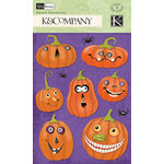 K and Company - Halloween Collection - Grand Adhesions with Glitter Accents - Jack-O-Lantern