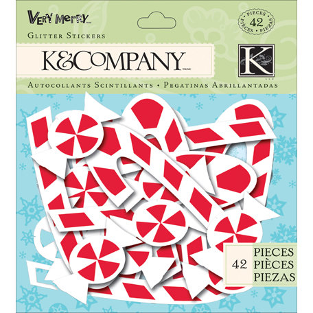 K and Company - Very Merry Collection - Christmas - Foam Glitter Stickers - Peppermint
