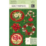 K and Company - Visions of Christmas Collection - Clearly Yours - Epoxy Stickers - Flower