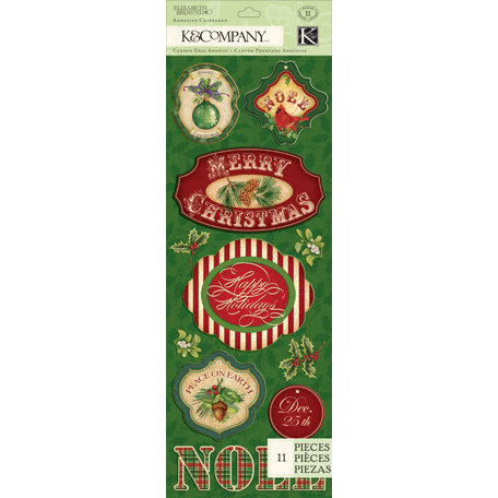 K and Company - Visions of Christmas Collection - Adhesive Chipboard - Word