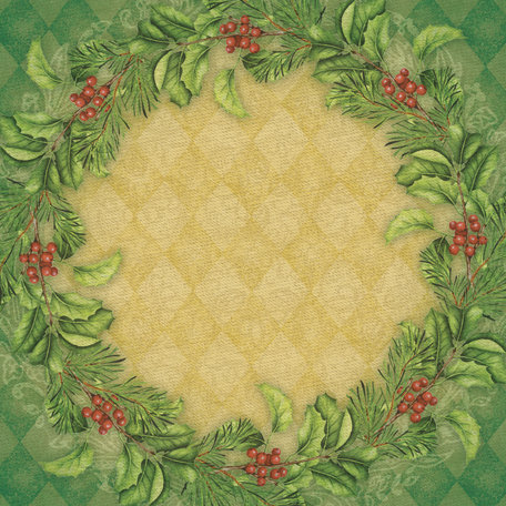 K and Company - Visions of Christmas Collection - 12 x 12 Paper with Shimmer Accents - Wreath