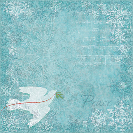 K and Company - Visions of Christmas Collection - 12 x 12 Paper - Dove