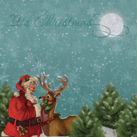 K and Company - Visions of Christmas Collection - 12 x 12 Paper - Santa and Reindeer