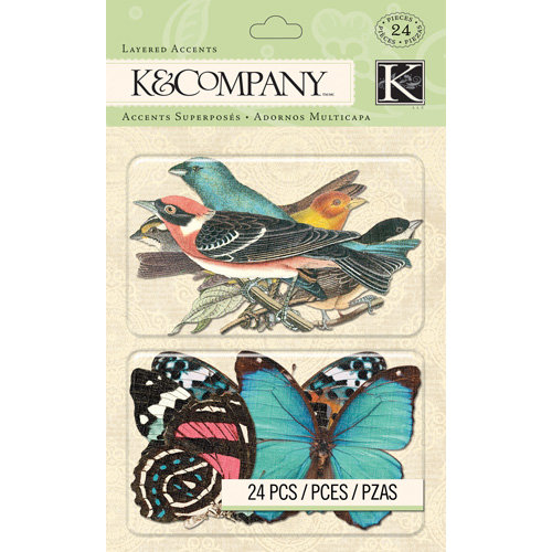 K and Company - Merryweather Collection - Layered Accents - Bird and Butterfly