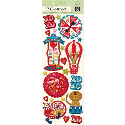 K and Company - Circus Valentine Collection - Adhesive Chipboard