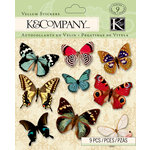 K and Company - Beyond Postmarks Collection - Vellum Stickers - Butterfly