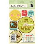 K and Company - Beyond Postmarks Collection - Adhesive Chipboard with Foil Accents - Letterpress Spinners