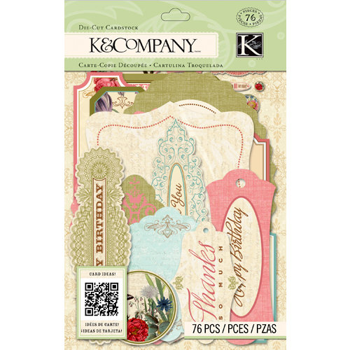 K and Company - Beyond Postmarks Collection - Die Cut Cardstock Pieces with Varnish Accents - Floral