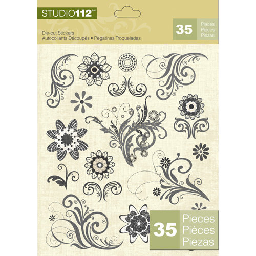 K and Company - Studio 112 Collection - Die Cut Stickers - Swirl