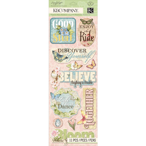 K and Company - Floral Collection - Adhesive Chipboard - Words