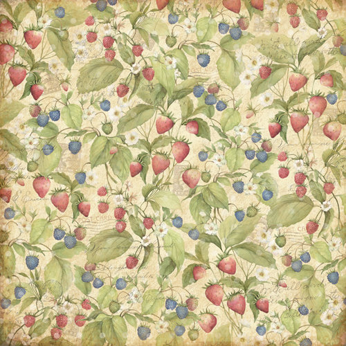 K and Company - Floral Collection - 12 x 12 Paper - Berries