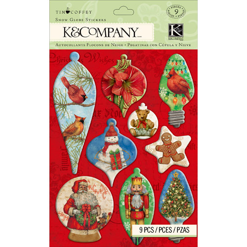K and Company - Christmas 2012 Collection by Tim Coffey - 3 Dimensional Stickers - Snow Globe Stickers