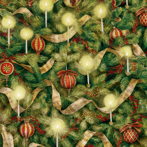 K and Company - Christmas 2012 Collection by Tim Coffey - 12 x 12 Paper with Glitter Accents - Tree Closeup