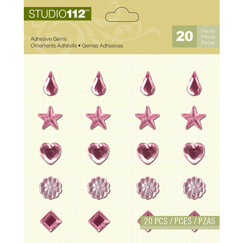 K and Company - Studio 112 Collection - Adhesive Gems - Light Pink Assortment