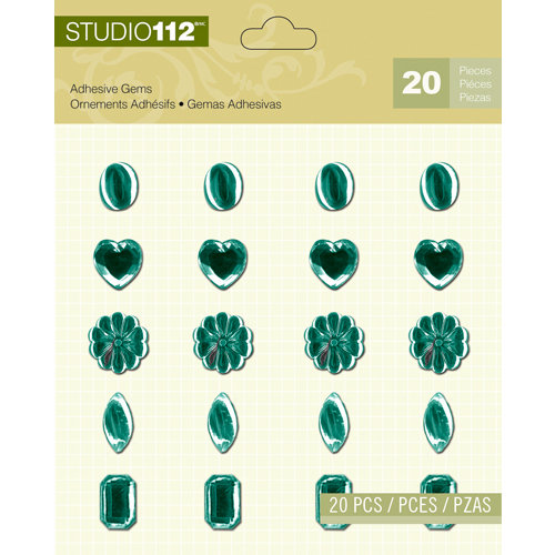 K and Company - Studio 112 Collection - Adhesive Gems - Teal Assortment